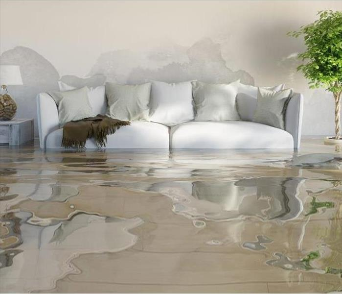 living room flooded because of water damage