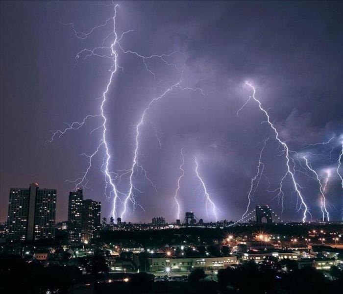lightning over a city